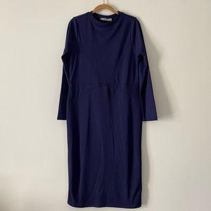 NWT ASOS Fitted Navy Blue Midi Dress